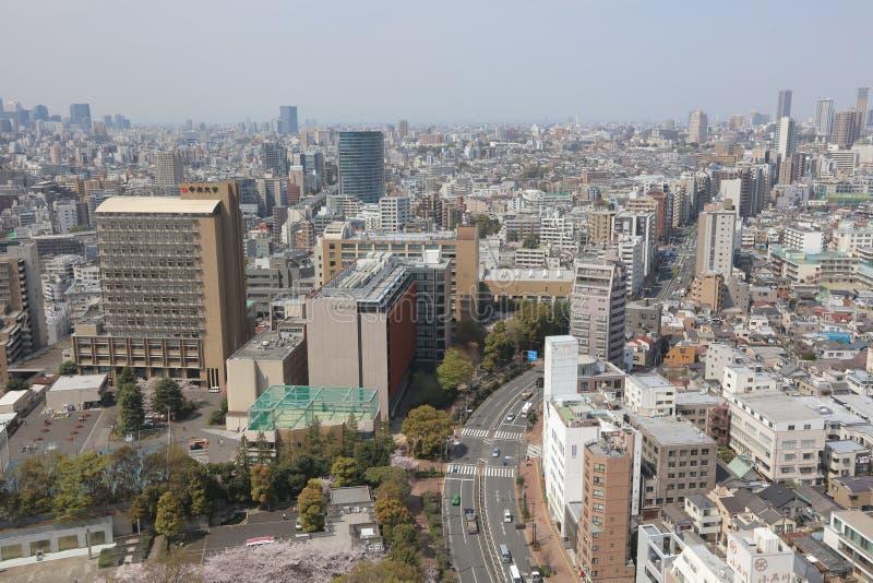 Skyline da cidade do Tóquio Opinião aérea da divisão de Bunkyo fotografia de stock royalty free
