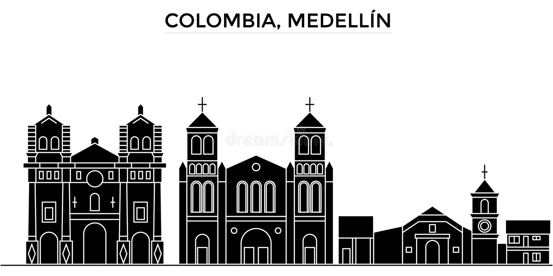 Skyline da cidade do vetor da arquitetura de Colômbia, Medellin, arquitetura da cidade preta com marcos, vistas isoladas no fundo ilustração stock