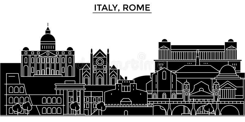 A skyline da cidade do vetor da arquitetura de Itália, Roma, arquitetura da cidade do curso com marcos, construções, isolou vista ilustração stock