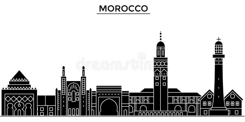 A skyline da cidade do vetor da arquitetura de Marrocos, arquitetura da cidade do curso com marcos, construções, isolou vistas no ilustração stock
