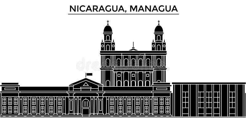 A skyline da cidade do vetor da arquitetura de Nicarágua, Managua, arquitetura da cidade do curso com marcos, construções, isolou ilustração stock