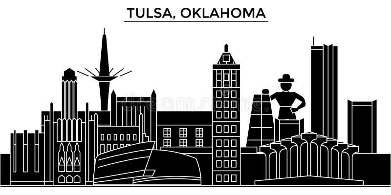 Skyline da cidade do vetor da arquitetura dos EUA, Tulsa, Oklahoma ilustração stock