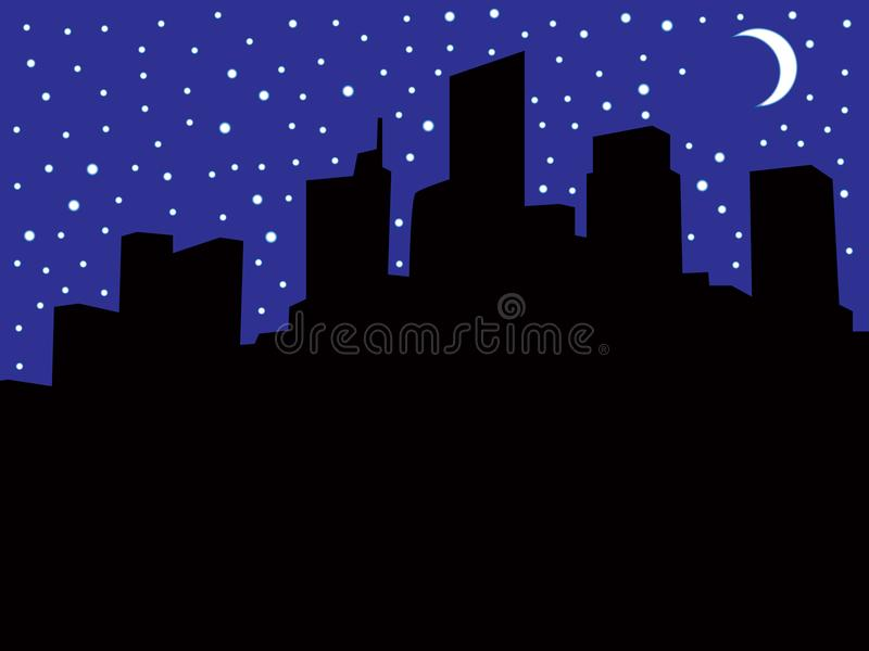 Skyline da cidade durante o escurecimento ilustração royalty free