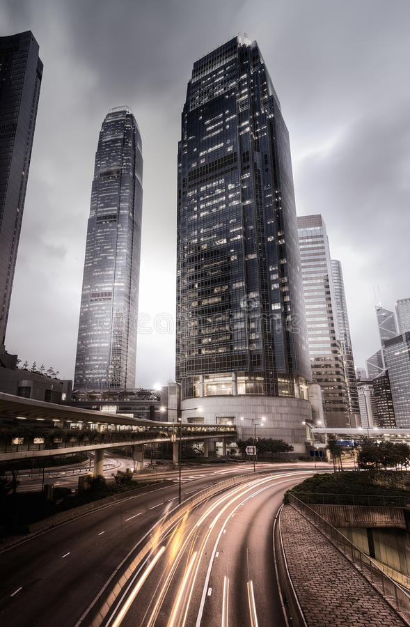 Skyline da cidade em Hong Kong imagem de stock royalty free