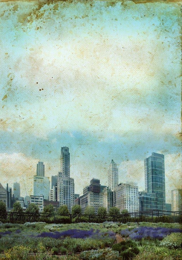 Skyline da cidade em um fundo do grunge ilustração royalty free