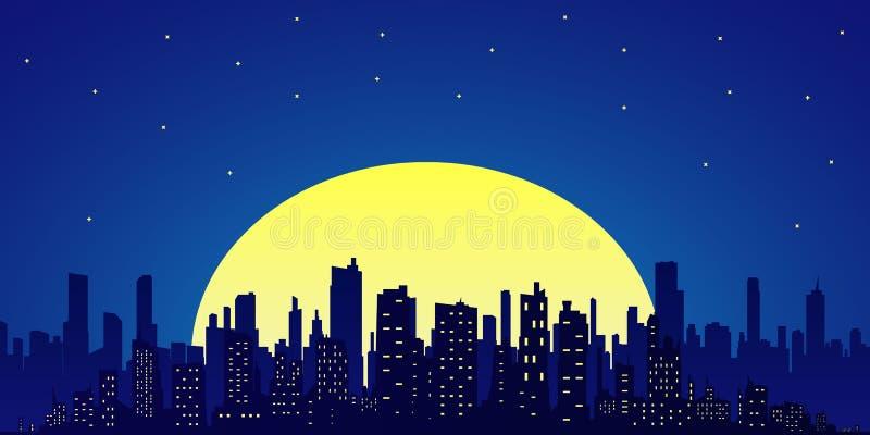 Skyline da cidade Estilo liso ilustração royalty free