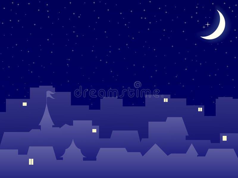 Skyline da cidade na noite ilustração do vetor