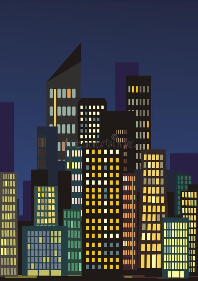 Skyline Da Cidade Na Noite Fotos de Stock