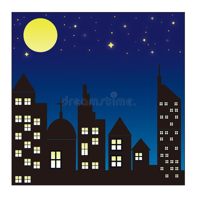 Skyline da cidade no fundo da noite ilustração royalty free