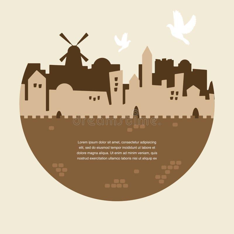 Skyline da cidade velha do Jerusalém ilustração do vetor