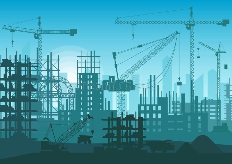 Skyline da construção sob a construção Cabeça da site do exterior novo da cidade Ilustração do vetor ilustração stock