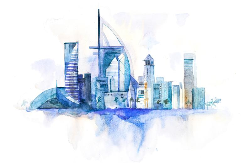 Skyline da skyline do marco da arquitetura da cidade de Dubai Ilustração da aguarela ilustração royalty free