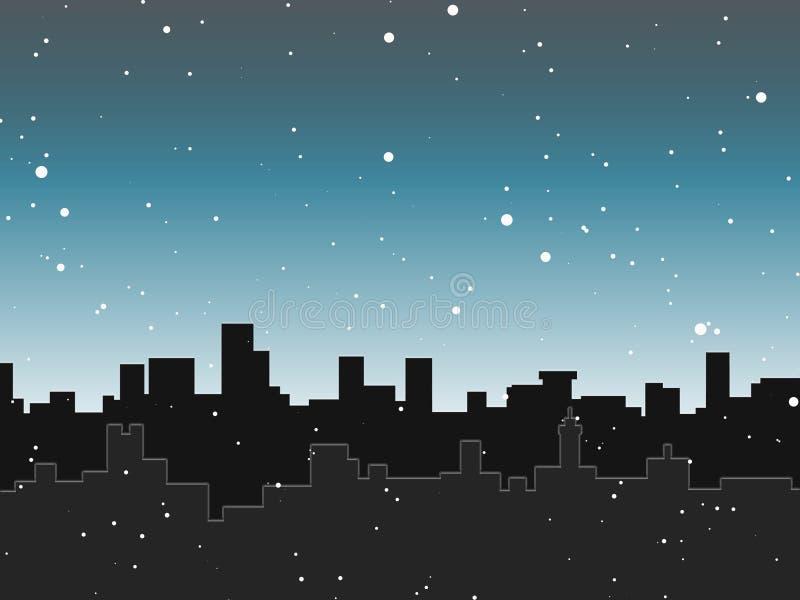 Skyline da neve ilustração stock