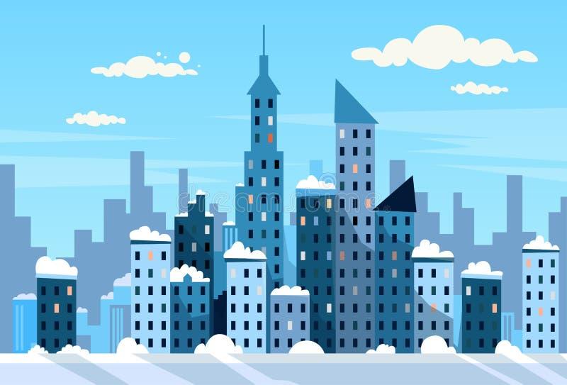 Skyline da neve da arquitetura da cidade da opinião do arranha-céus da cidade do inverno ilustração royalty free
