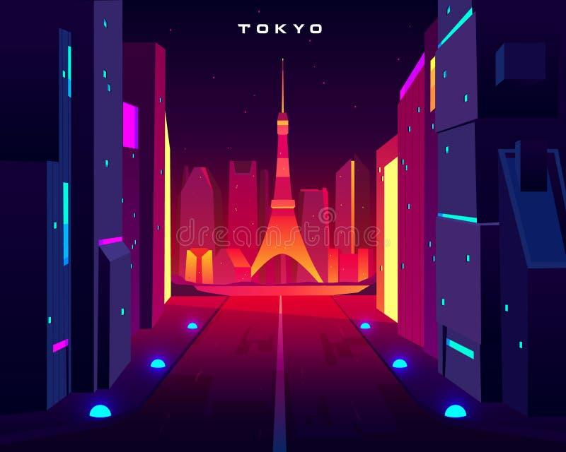 Skyline da noite da cidade do Tóquio com opinião da torre do skytree ilustração royalty free