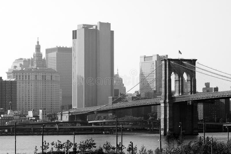 Skyline da ponte de Brooklyn NYC imagem de stock royalty free