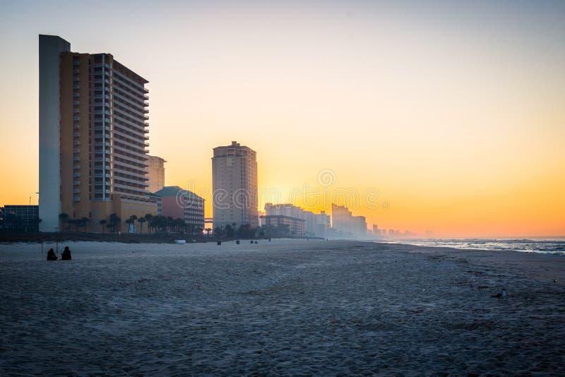 Skyline da praia da Cidade do Panamá, Florida no nascer do sol fotos de stock