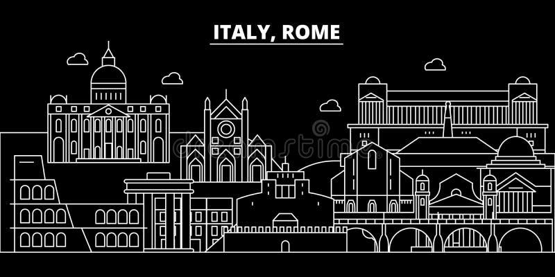 Skyline da silhueta da cidade de Roma Cidade do vetor da cidade de Itália - de Roma, arquitetura linear italiana, construções Cur ilustração royalty free