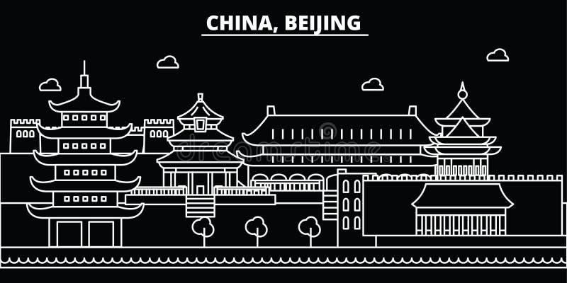 Skyline da silhueta da cidade do Pequim China - cidade do vetor da cidade do Pequim, arquitetura linear chinesa, construções Cida ilustração do vetor