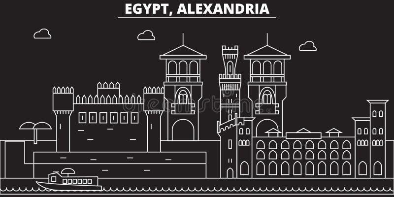 Skyline da silhueta de Alexandria Cidade do vetor de Egito - de Alexandria, arquitetura linear egípcia, construções Linha de Alex ilustração stock