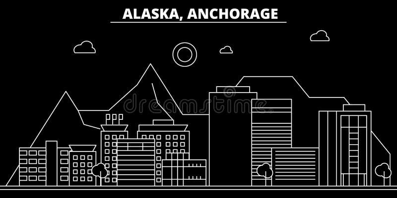 Skyline da silhueta de Anchorage EUA - Cidade do vetor de Anchorage, arquitetura linear americana, construções Curso de Anchorage ilustração royalty free