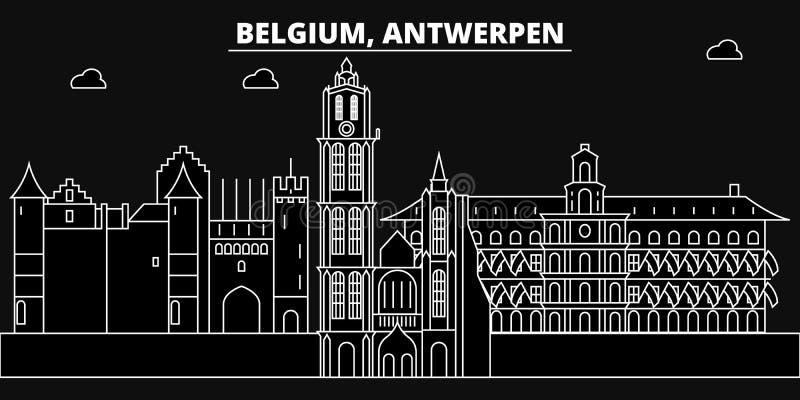 Skyline da silhueta de Antwerpen Cidade do vetor de Bélgica - de Antwerpen, arquitetura linear belga, construções Curso de Antwer ilustração do vetor