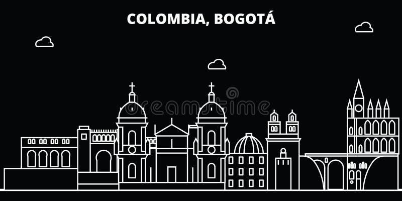 Skyline da silhueta de Bogotá Cidade do vetor de Colômbia - de Bogotá, arquitetura linear colombiana, construções Linha curso de  ilustração stock