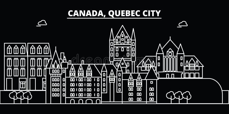Skyline da silhueta de Cidade de Quebec Cidade do vetor de Canadá - de Cidade de Quebec, arquitetura linear canadense, construçõe ilustração do vetor