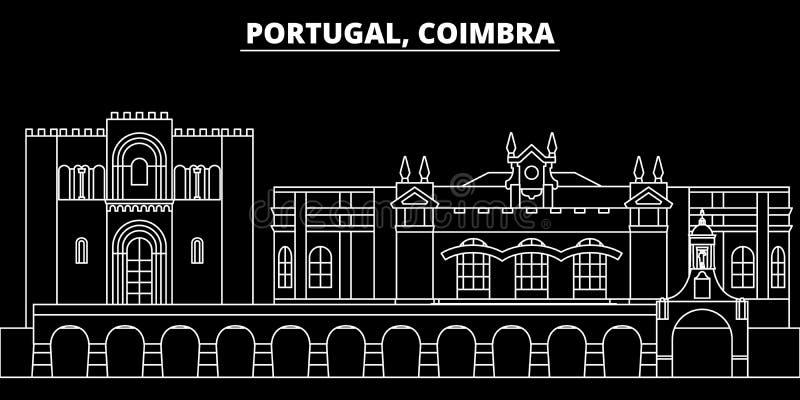 Skyline da silhueta de Coimbra Cidade do vetor de Portugal - de Coimbra, arquitetura linear portuguesa, construções Curso de Coim ilustração royalty free