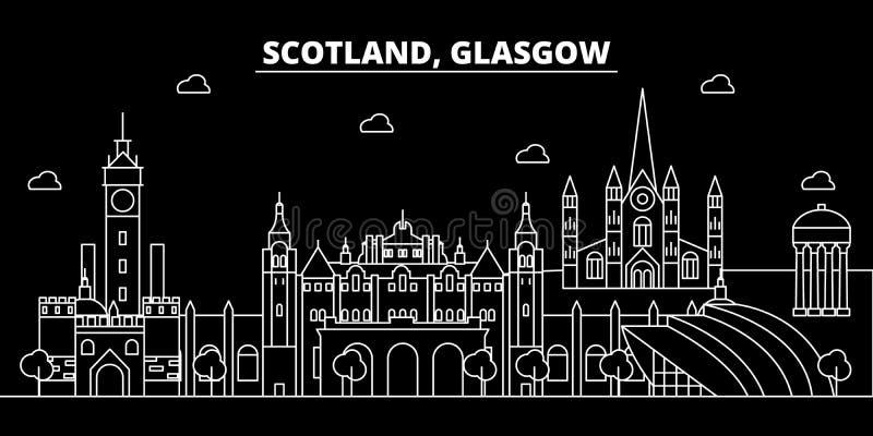 Skyline da silhueta de Glasgow Cidade do vetor de Escócia - de Glasgow, arquitetura linear escocesa, construções Curso de Glasgow ilustração stock