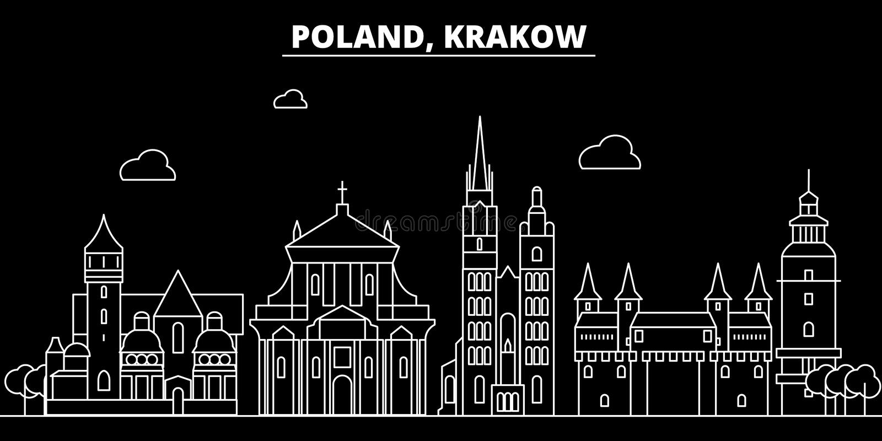 Skyline da silhueta de Krakow poland - de vetor de Krakow cidade, arquitetura linear polonesa, construções Curso de Krakow ilustração royalty free