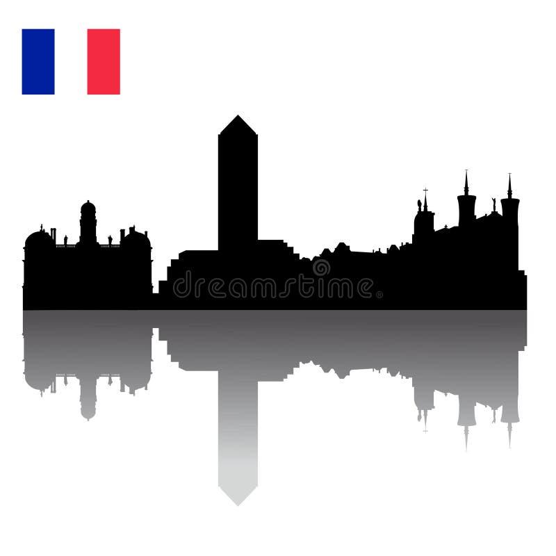 Skyline da silhueta de Lyon com bandeira francesa ilustração do vetor
