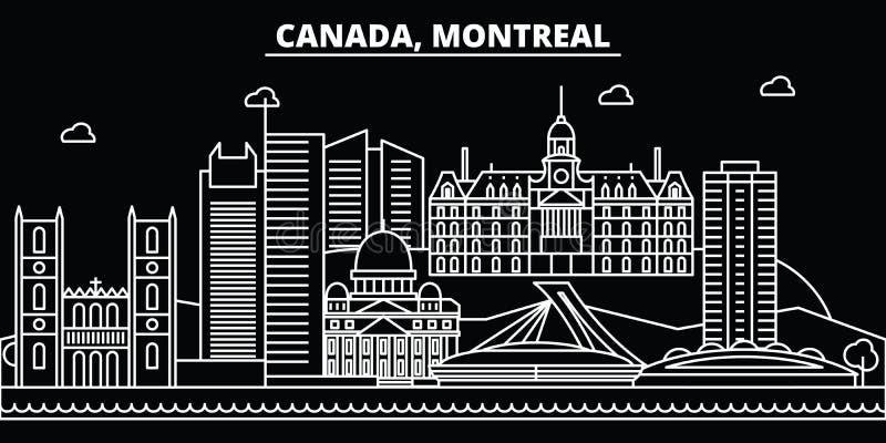 Skyline da silhueta de Montreal Cidade do vetor de Canadá - de Montreal, arquitetura linear canadense, construções Curso de Montr ilustração stock