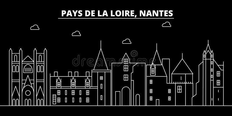 Skyline da silhueta de Nantes Cidade do vetor de França - de Nantes, arquitetura linear francesa, construções Curso de Nantes ilustração do vetor