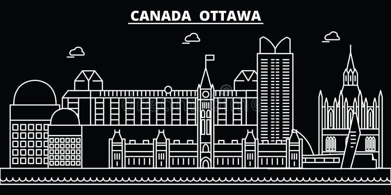 Skyline da silhueta de Ottawa Cidade do vetor de Canadá - de Ottawa, arquitetura linear canadense, construções Curso de Ottawa ilustração stock