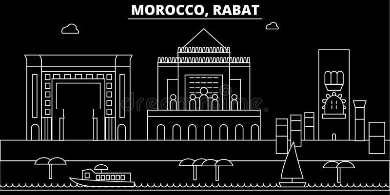 Skyline da silhueta de Rabat Cidade do vetor de Marrocos - de Rabat, arquitetura linear marroquina, construções Curso de Rabat ilustração royalty free