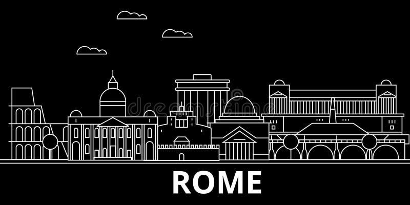 Skyline da silhueta de Roma Cidade do vetor de Itália - de Roma, arquitetura linear italiana, construções Ilustração do curso de  ilustração do vetor