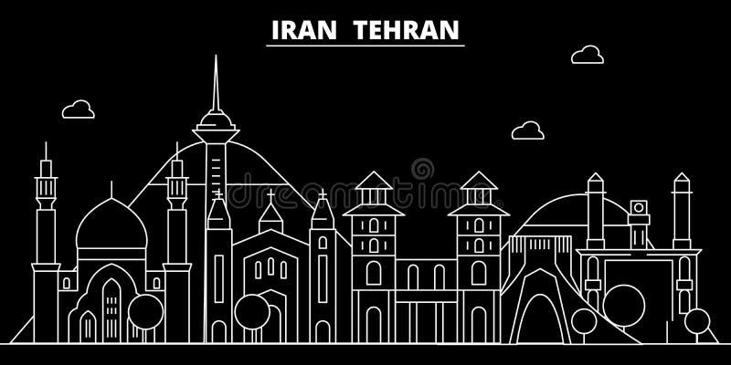 Skyline da silhueta de Tehran Cidade do vetor de Irã - de Tehran, arquitetura linear iraniana, construções Ilustração do curso de ilustração royalty free
