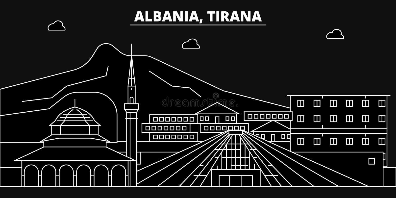 Skyline da silhueta de Tirana Cidade do vetor de Albânia - de Tirana, arquitetura linear albanesa, construções Curso de Tirana ilustração do vetor