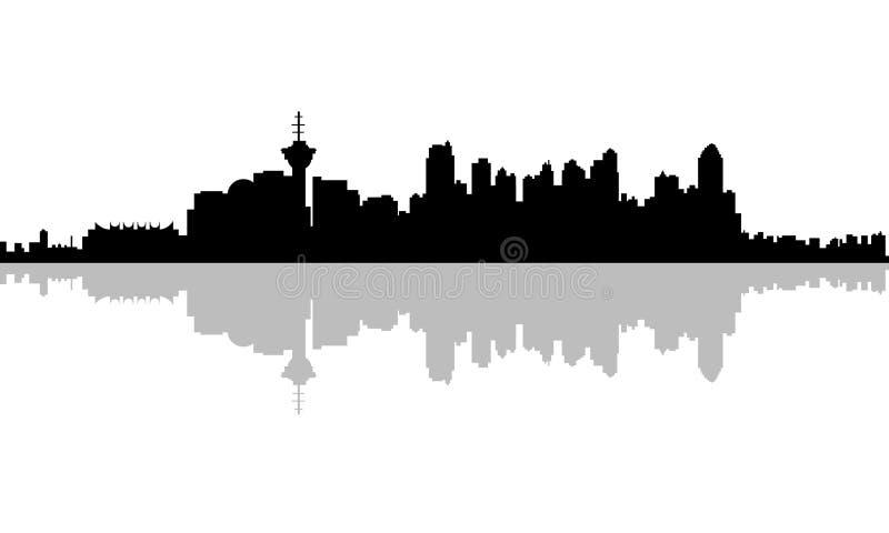 Skyline da silhueta de Vancôver ilustração stock