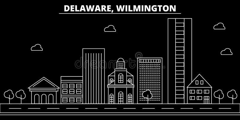 Skyline da silhueta de Wilmington EUA - Cidade do vetor de Wilmington, arquitetura linear americana, construções Curso de Wilming ilustração do vetor