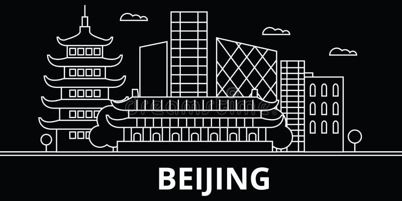 Skyline da silhueta do Pequim China - cidade do vetor do Pequim, arquitetura linear chinesa, construções Curso do Pequim ilustração royalty free