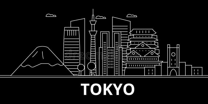 Skyline da silhueta do Tóquio Japão - cidade do vetor do Tóquio, arquitetura linear japonesa, construções Ilustração do curso do  ilustração stock