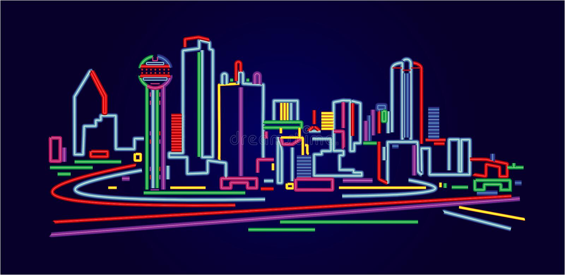 Skyline Dallas-Texas stock abbildung