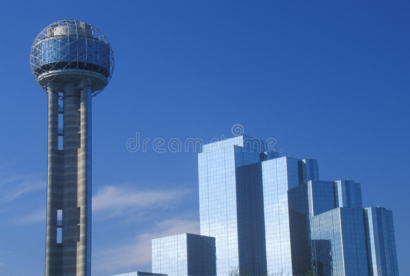 Skyline of Dallas, TX with Reunion Tower and Hyatt Hotel stock photography