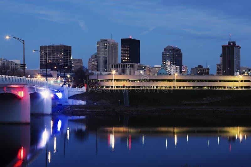 Skyline of Dayton at night. Dayton, Ohio, USA stock image