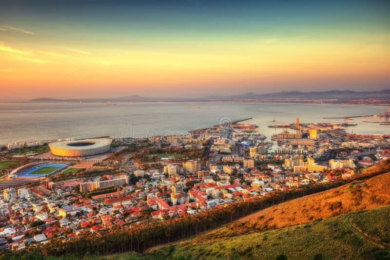 Skyline de África do Sul Capetown fotografia de stock