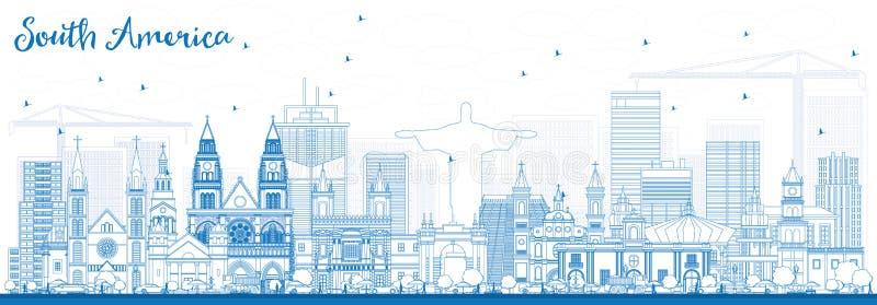 Skyline de Ámérica do Sul do esboço com marcos famosos ilustração stock
