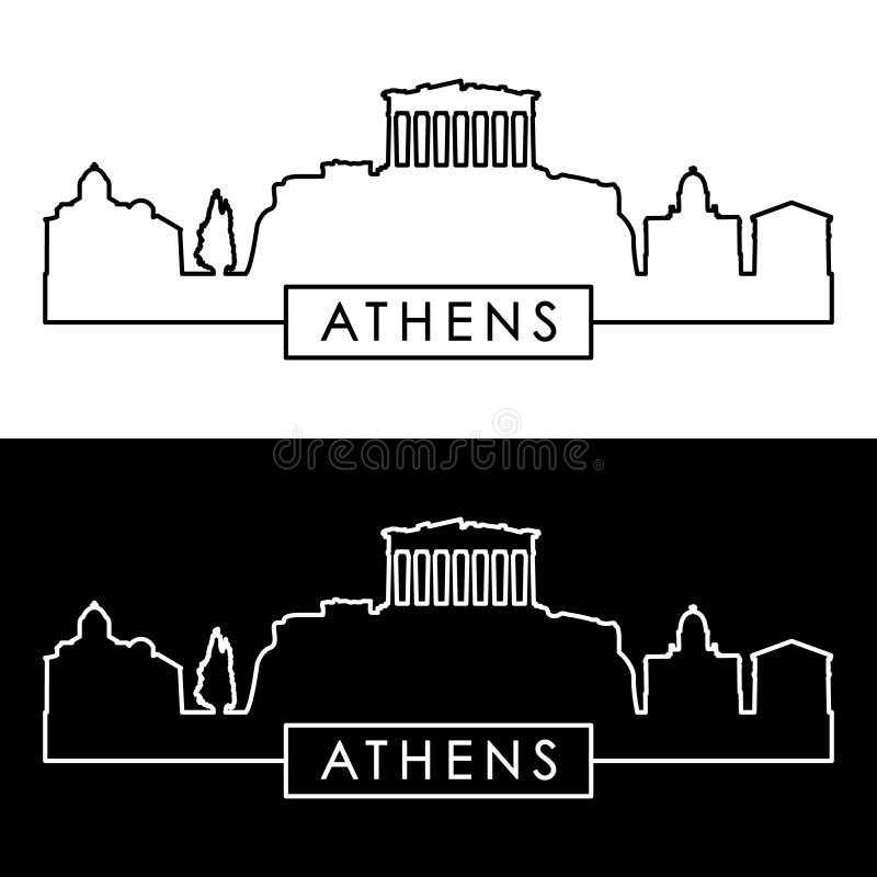 Skyline de Atenas estilo linear ilustração do vetor
