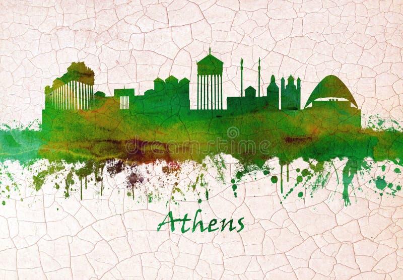 Skyline de Atenas Gr?cia ilustração royalty free